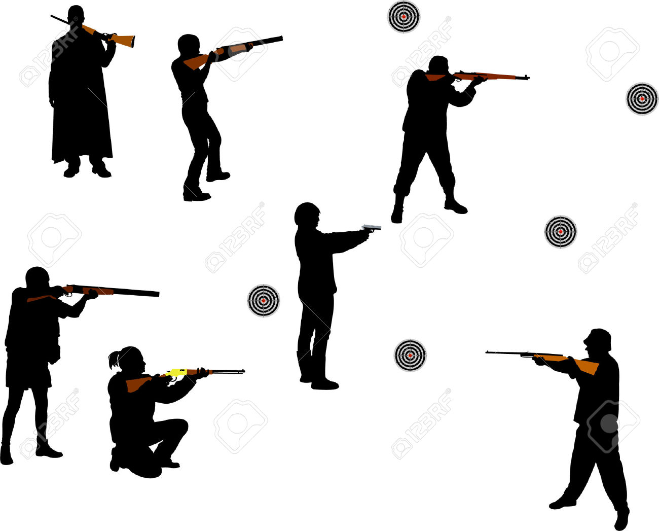 1300x1047 People Hunting Silhouette Clip Art