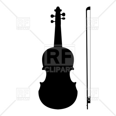 400x400 Violin And Bow Black Silhouette Color Icon