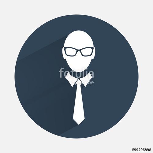 500x500 Businessman Icon. Office Worker Symbol. Face Cartoon, Tie