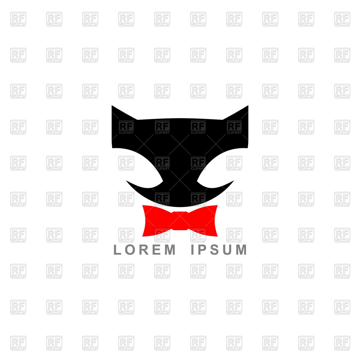 1200x1200 Silhouette Of Black Cat And Red Bow Tie Royalty Free Vector Clip