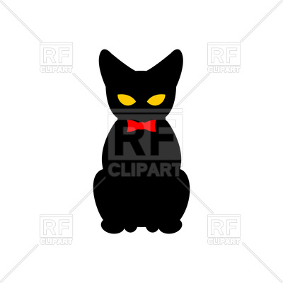 400x400 Black Cat With Red Bow Tie Royalty Free Vector Clip Art Image
