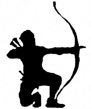 300x360 Bow Hunter On One Knee Car Or Truck Window Decal Sticker