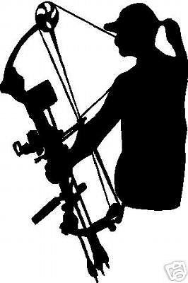 266x400 Black Vinyl Decal Lady Bowhunter Woman Girl Bow Hunt