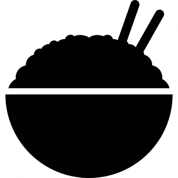 626x626 Rice Bowl Silhouette With Chopsticks Side View Icons Free Download