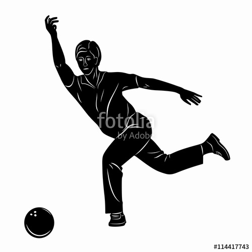 500x500 Silhouette Player Bowling. Vector Drawing Stock Image And Royalty