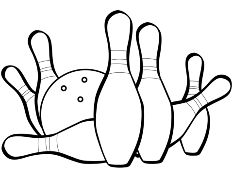 480x371 Bowling Pins And Ball Coloring Page Free Printable Coloring Pages