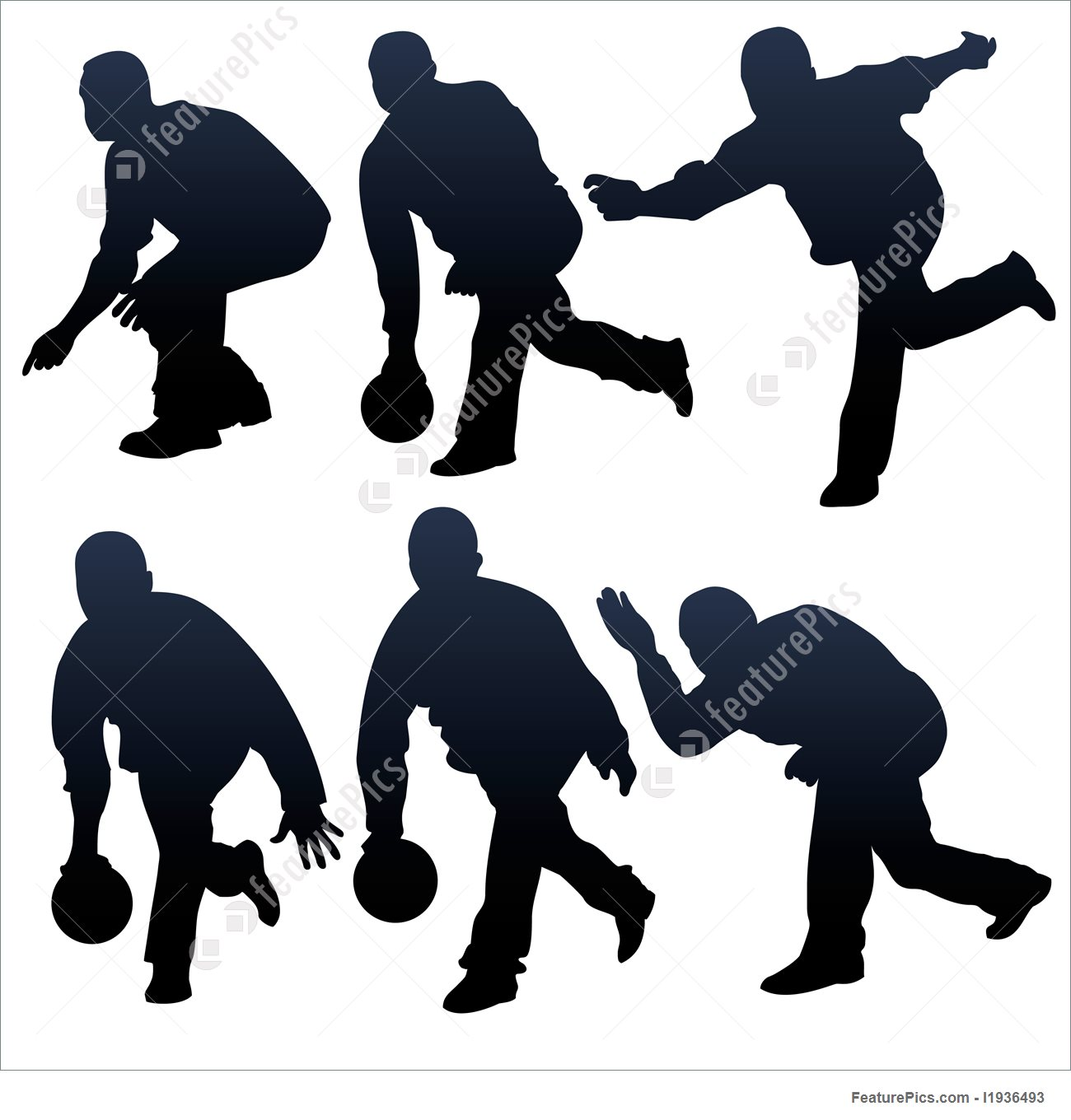 1300x1360 Illustration Of Bowling People Silhouettes