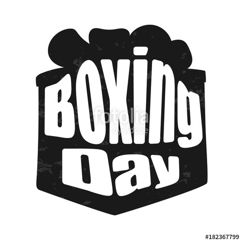 500x500 Hand Lettering Boxing Day With Present Box Silhouette Illustration