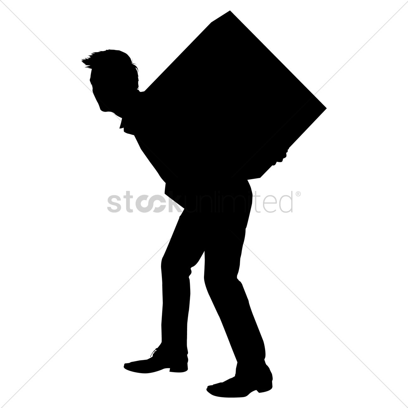 1300x1300 Silhouette Of A Man Carrying Box Vector Image