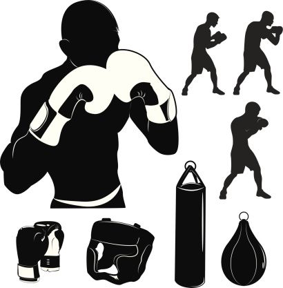 410x417 Boxing Silhouette Vector Stock Vector Illustration Box