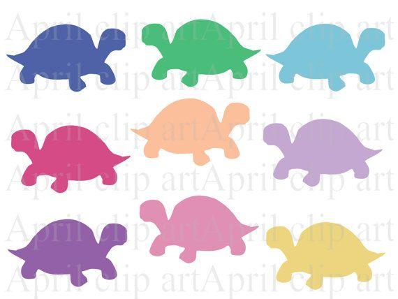 570x428 Box Turtle Silhouette Clip Art Set, Digital Clipart, Scrapbooking