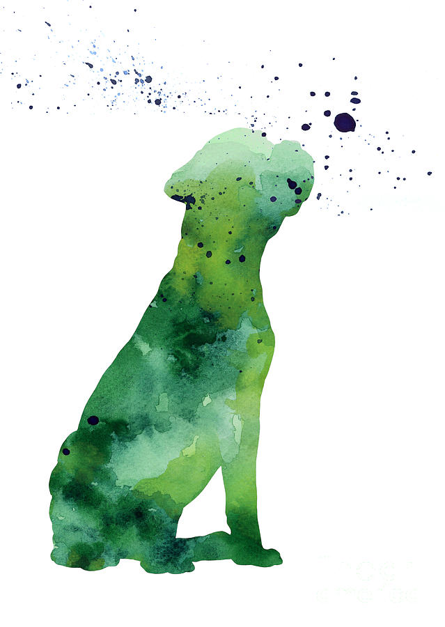 639x900 Boxer Dog Silhouette Large Poster Painting By Joanna Szmerdt