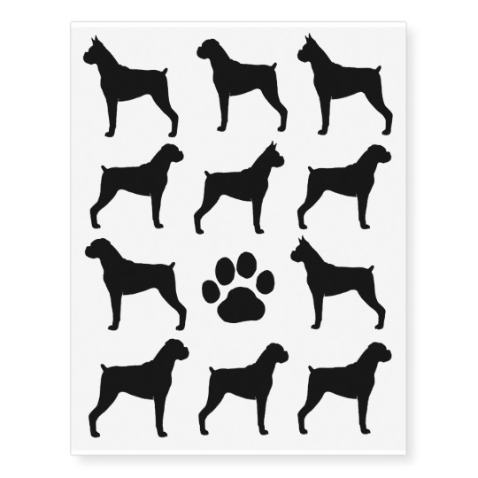 540x540 Boxer Dog Silhouettes Temporary Tattoos