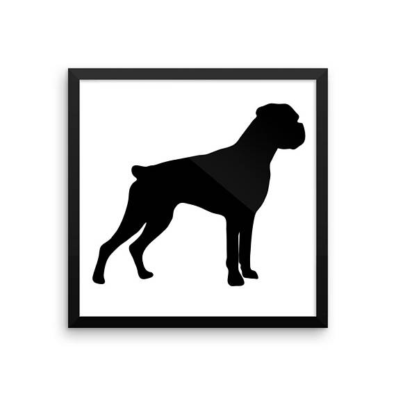 570x570 Boxer Silhouette Digital Download, Dog Silhouette Vector Clipart
