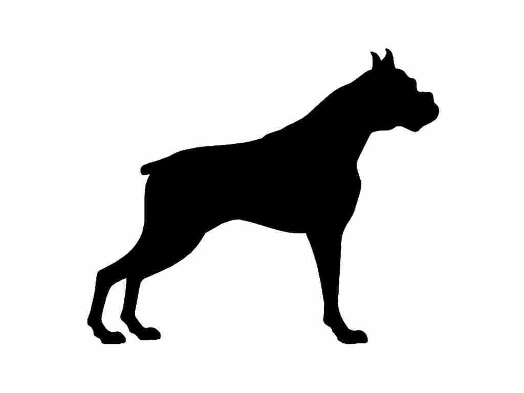 1024x768 Boxer V2 Dog Silhouette Custom Die Cut Vinyl Decal Sticker