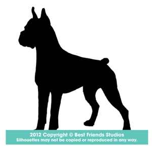 300x300 Boxer Dog Silhouette Gifts, Stationery, Address Labels Amp Note