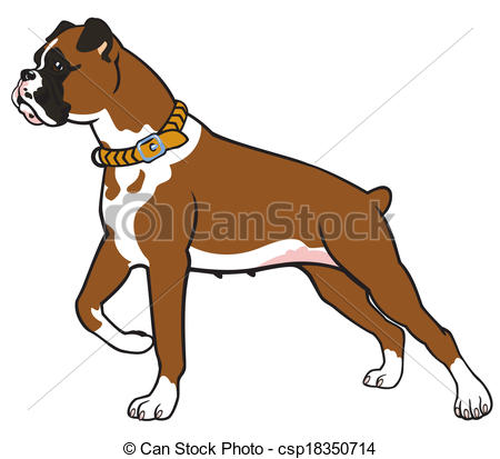 450x413 Boxer Dog Side View Image Isolated On White Background Vector Clip