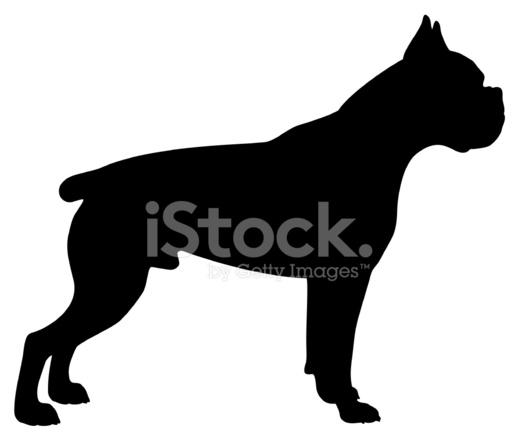 518x440 Boxer Dog Silhouette Stock Vector