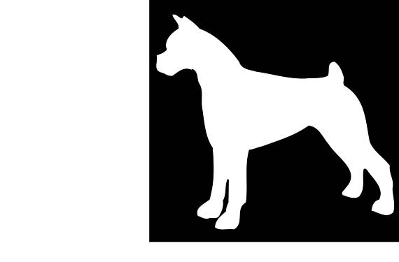 570x375 Boxer Dog Silhouette Vinyl Decal