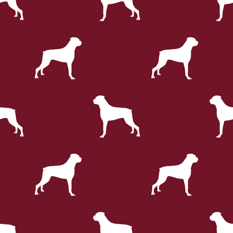 470x470 Boxer Dog Silhouette Fabric Pattern Ruby Fabric