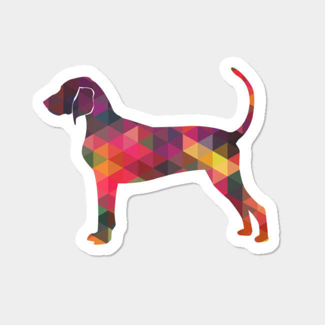 650x650 Bluetick Coonhound Dog Geometric Pattern Silhouette Multi Sticker