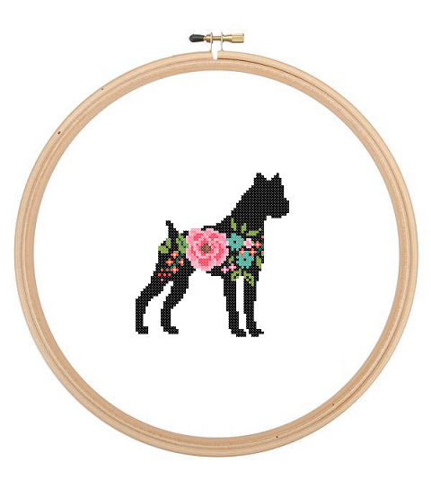 480x544 Boxer Dog Silhouette Cross Stitch Pattern Floral Roses Pet Animal