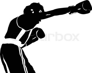 320x252 Black Silhouette Boxer Straight Right Punch To Head Fight Boxing
