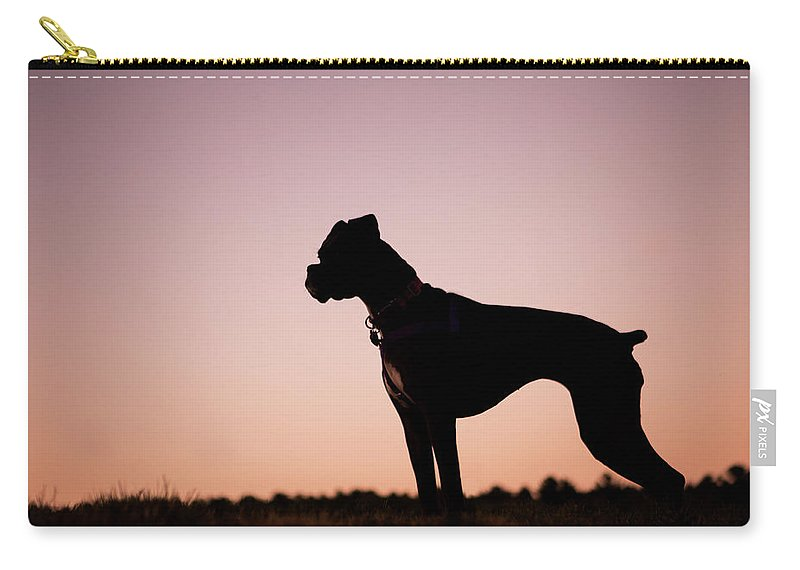 800x570 Boxer Dog Sunset Silhouette Carry All Pouch For Sale By Stephanie
