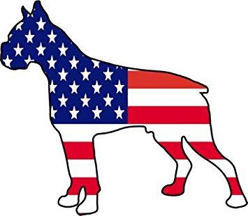 355x310 American Flag Boxer Silhouette Vinyl Decal Sticker