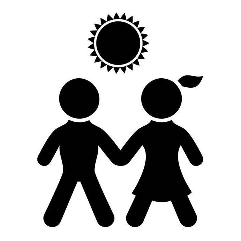 800x800 13.2cm17cm Boy And Girl Holding Hands Fashion Car Sticker Vinyl