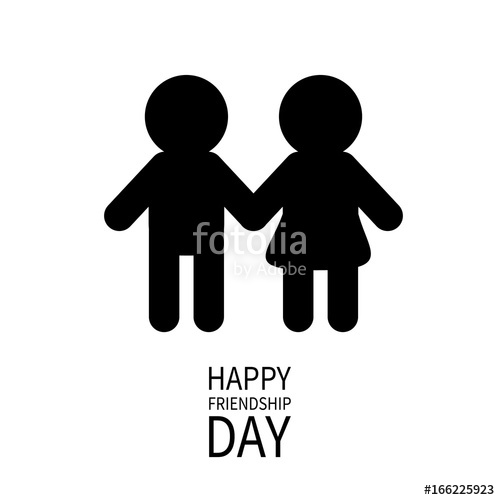 500x500 Happy Friendship Day. Boys Girls Holding Hands Icon. Friends