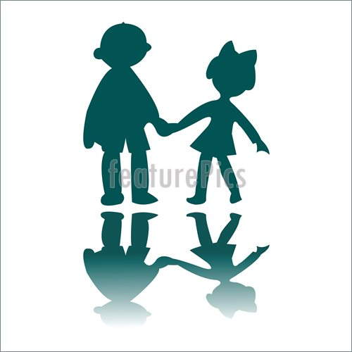 500x500 Boy And Girl Blue Silhouettes Stock Illustration I2489987