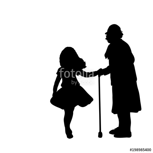 500x500 Silhouette Girl Cares Helps Grandmother Stock Image And Royalty