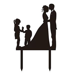 300x300 Wedding Anniversary Silhouette Family Cake Topper Couple With Girl