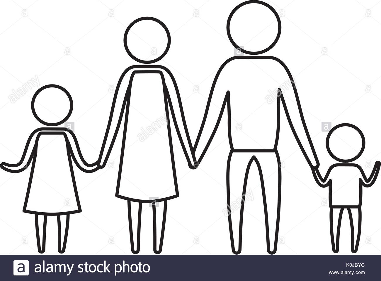 1300x961 Sketch Silhouette Of Pictogram Parents With A Girl And Little Boy