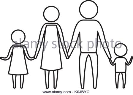 448x320 Sketch Silhouette Of Pictogram Parents With A Girl Holding Hands