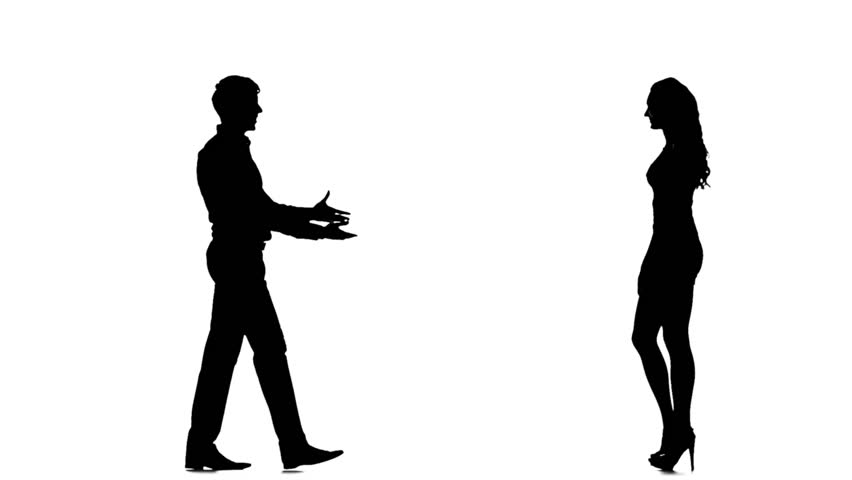 852x480 Two Lovers Man Silhouette, White Background. The Feeling Of Love