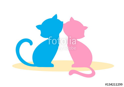 500x353 Two In Love, Enamored Cat, Boy And Girl Kissing. Blue And Pink
