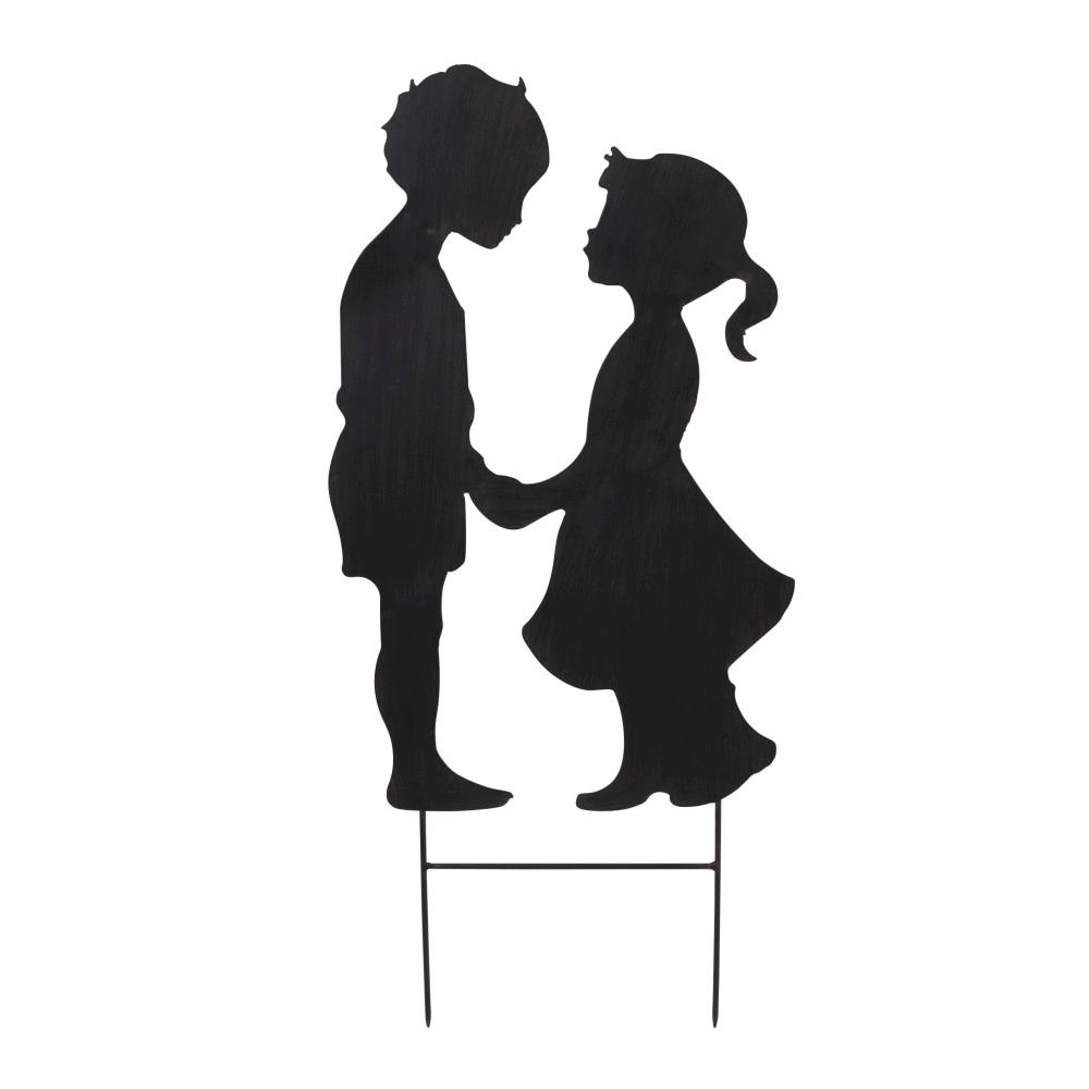 1000x1000 Gerson 25 in. Tall Black Metal Boy and Girl Silhouette Yard Stake