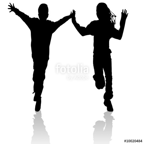 500x500 Running boy and girl silhouette Stock photo and royalty free