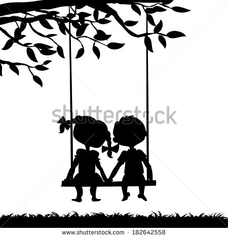 450x470 Swing Set Silhouette Silhouettes of a boy and a girl sitting on