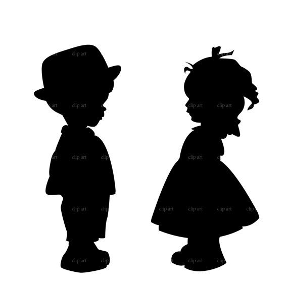 570x569 boy and girl silhouette digital clipart vector eps by bestvector