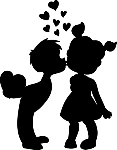 400x515 Boy And Girl Kissing Silhouette 101 Clip Art