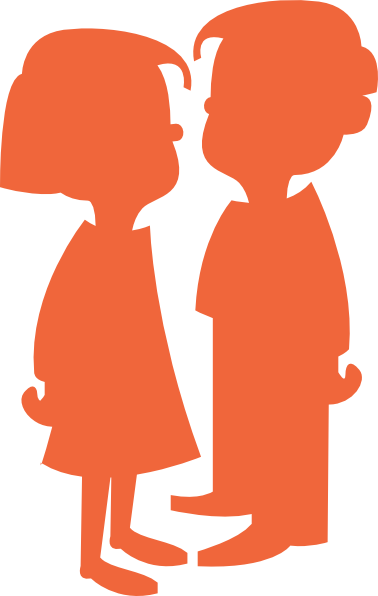 378x596 Boy Girl Silhouette Orange Clip Art