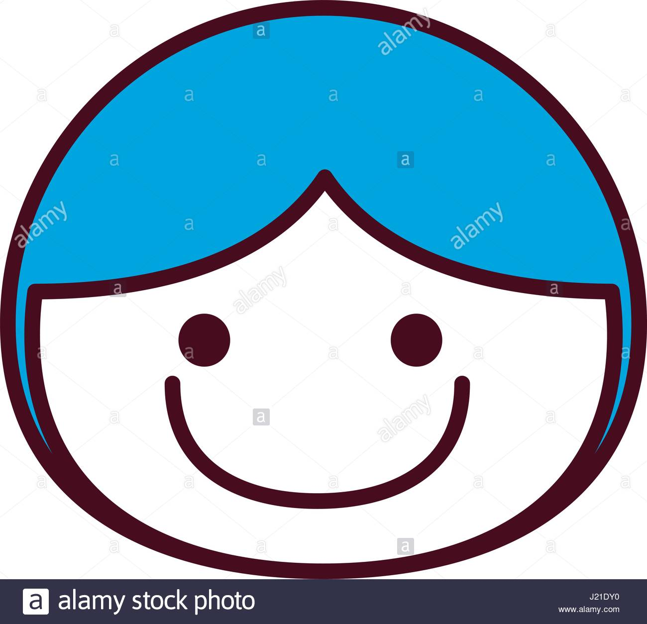 1300x1254 Hand Drawing Silhouette Front Face Boy With Blue Hair Stock Vector