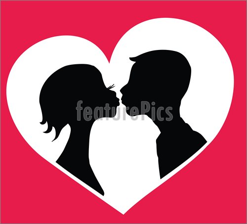 500x453 Kissing Boy And Girl Silhouettes In Heart Shape Background. Vector