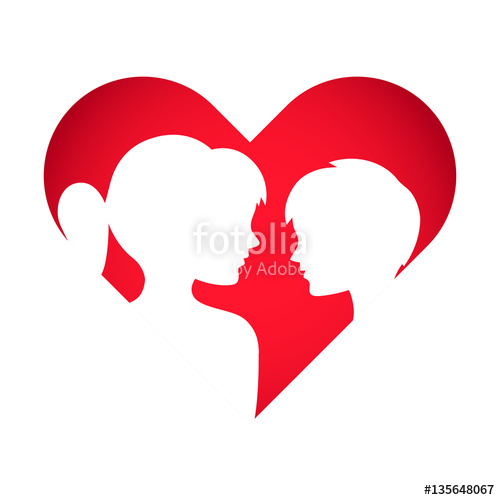 500x500 Love Heart Symbol With Boy And Girl Silhouette Stock image and