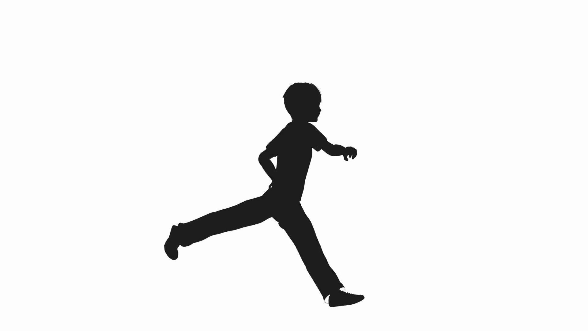 1920x1080 Boy Running Silhouette On A White Background Motion Background