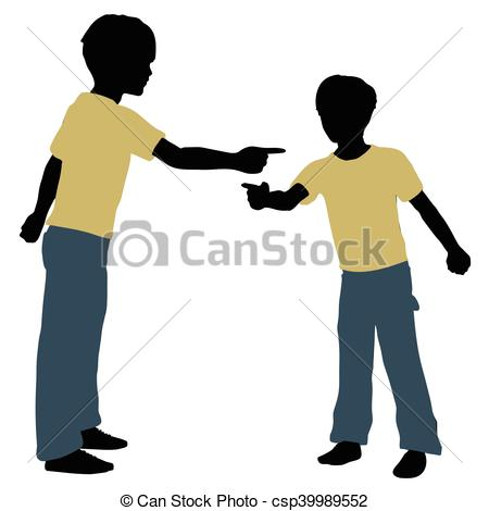 450x470 Eps 10 Vector Illustration Of Boy Silhouette In Angry Talk