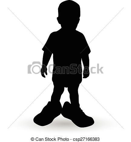 433x470 Boy In A Fathers Shoes Vector Illustration Silhouette Vector